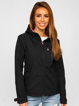 Czarna kurtka damska przejściowa softshell Denley KSW6003