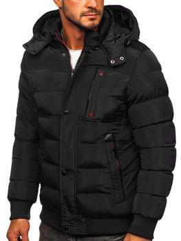 Czarna pikowana kurtka męska zimowa z kapturem Denley 1185