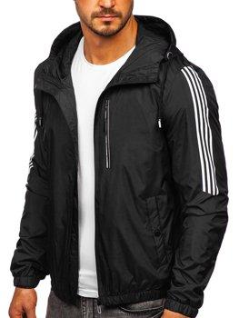 Czarna przejściowa kurtka męska sportowa z kapturem Denley 6172