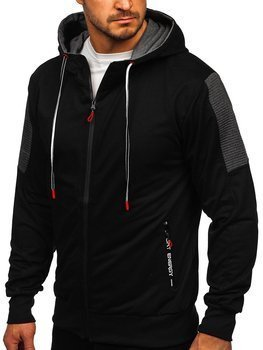 Czarna rozpinana bluza męska z kapturem i nadrukiem Denley JX9906