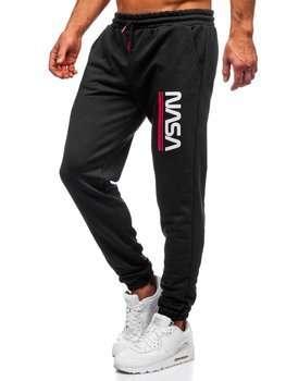 Czarne dresowe spodnie męskie Denley 012