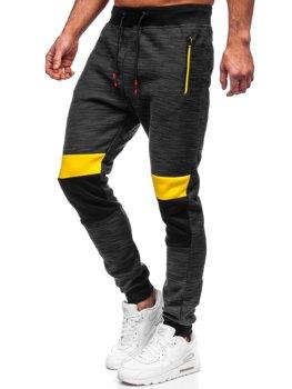 Czarne dresowe spodnie męskie Denley K60022
