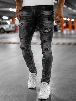 Czarne jeansowe spodnie męskie slim fit z paskiem Denley 6030S0
