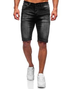 Czarne krótkie spodenki jeansowe męskie Denley 3036