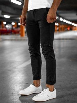 Czarne spodnie chinosy męskie Denley 1146