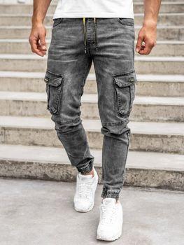 Czarne spodnie jeansowe joggery bojówki męskie Denley HY689