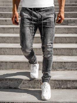 Czarne spodnie jeansowe joggery męskie Denley KA1317