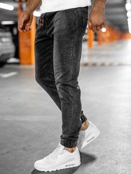 Czarne spodnie jeansowe joggery męskie Denley NJ55003
