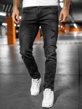 Czarne spodnie jeansowe męskie regular fit Denley K8861