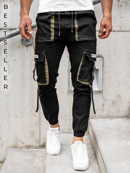 Czarne spodnie joggery bojówki męskie Denley KA1911