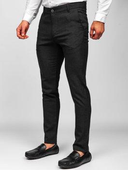 Czarne spodnie materiałowe chinosy męskie Denley 0016