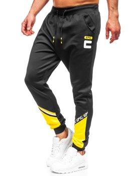 Czarne spodnie męskie dresowe Denley K10137