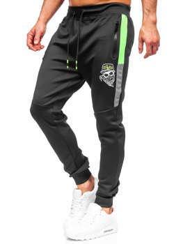 Czarne spodnie męskie dresowe Denley K10250
