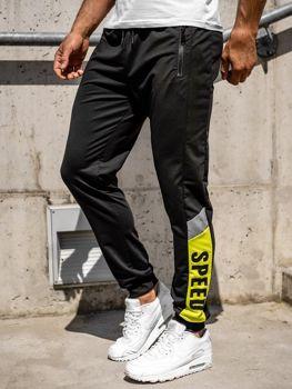 Czarne spodnie męskie dresowe joggery Denley HY717