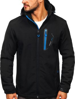 Czarno-niebieska kurtka męska softshell Denley BK017