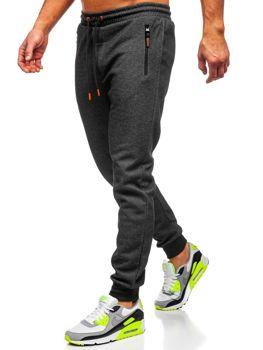 Czarno-pomarańczowe dresowe spodnie męskie Denley Q1054