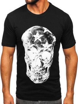 Czarny T-shirt męski z nadrukiem Bolf 6300