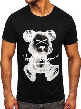 Czarny T-shirt męski z nadrukiem Denley KS2523T