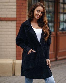 Czarny płaszcz damski Denley 7108