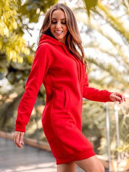 Czerwona długa bluza damska z kapturem Denley YS10005