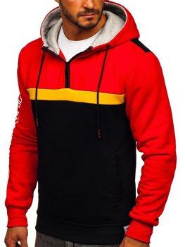 Czerwona z nadrukiem bluza męska z kapturem Denley KS2223