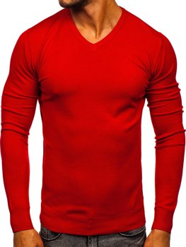 Czerwony sweter męski w serek Denley YY03