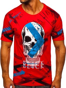 Czerwony t-shirt męski z nadrukiem Bolf 142177