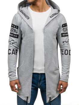 Długa bluza męska z kapturem z nadrukiem szara Denley 0852