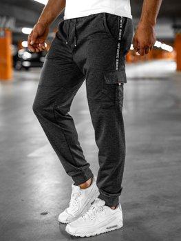 Grafitowe bojówki spodnie męskie dresowe Denley JX9395