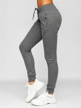 Grafitowe spodnie dresowe damskie Denley CK-01
