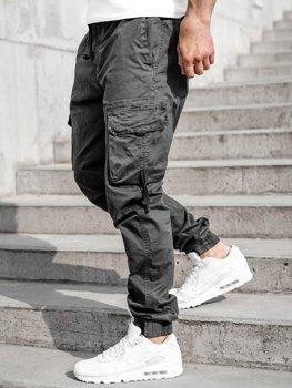 Grafitowe spodnie joggery bojówki męskie Denley 8956