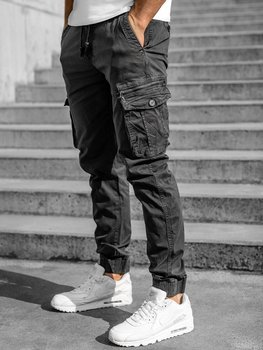 Grafitowe spodnie joggery bojówki męskie Denley CT6706S0