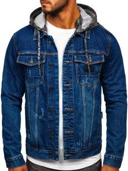 Granatowa jeansowa kurtka męska z kapturem Denley RB9824-1