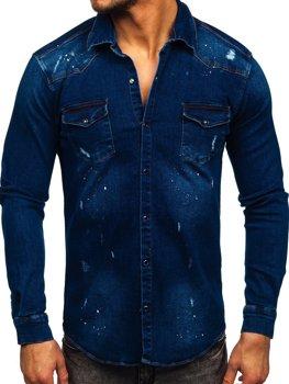 Granatowa koszula męska jeansowa z długim rękawem Denley R702
