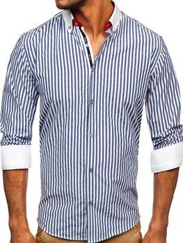 Granatowa koszula męska w paski z długim rękawem Bolf 20727