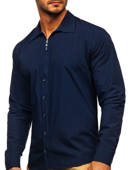 Granatowa koszula męska z długim rękawem Bolf 20702