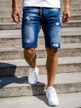 Granatowe jeansowe krótkie spodenki męskie Denley 3008