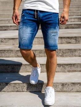 Granatowe jeansowe krótkie spodenki męskie Denley R3004