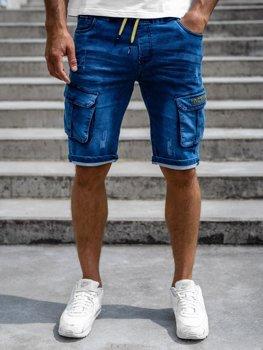 Granatowe krótkie spodenki jeansowe bojówki męskie Denley HY663