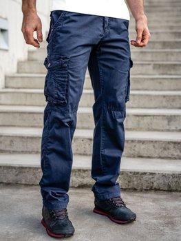 Granatowe spodnie bojówki męskie z paskiem Denley CT8906