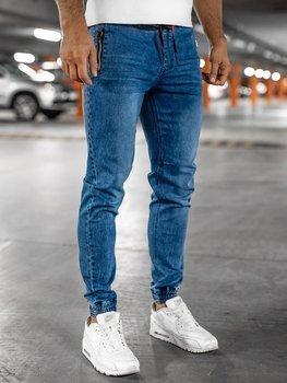 Granatowe spodnie jeansowe joggery męskie Denley HY678