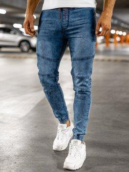 Granatowe spodnie jeansowe joggery męskie Denley HY737