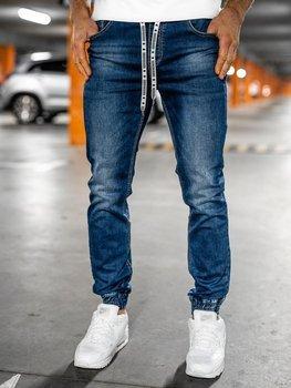 Granatowe spodnie jeansowe joggery męskie Denley KA2131