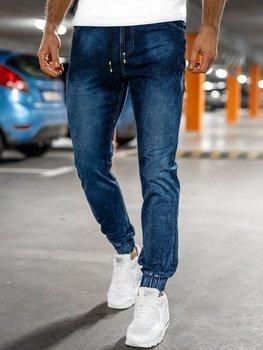 Granatowe spodnie jeansowe joggery męskie Denley NJ55003