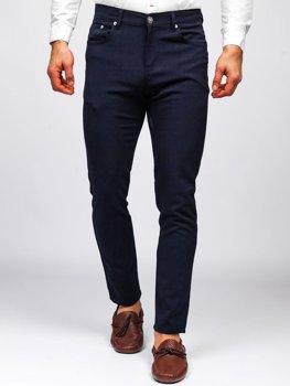 Granatowe spodnie materiałowe chinosy męskie Denley 0004