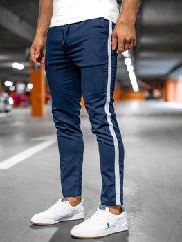 Granatowe spodnie materiałowe joggery męskie Denley 0013