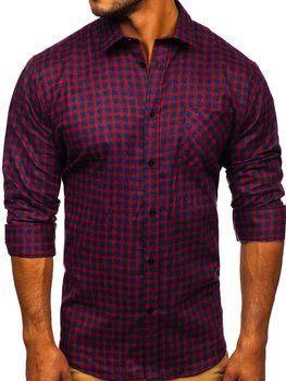 Granatowo-czerwona koszula męska flanelowa z długim rękawem Denley F8