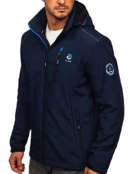 Granatowo-niebieska kurtka męska softshell Denley BK118
