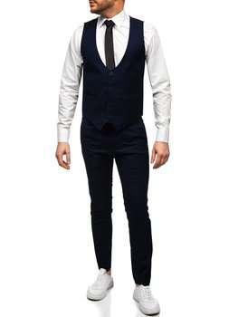 Granatowy komplet męski kamizelka i spodnie Denley 0019