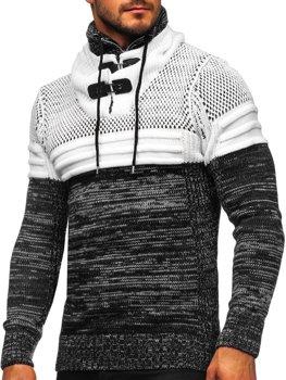 Gruby czarny sweter męski ze stójką Denley 2058